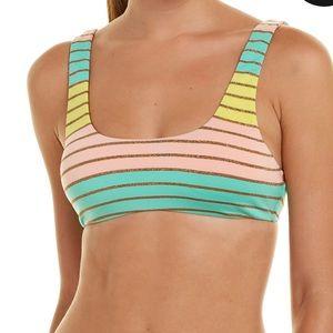 Trina Turk Metallic Stripe Bikini Top Sz 6